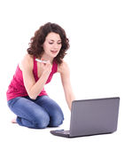 Beautiful smiling woman with computer PC Royalty Free Stock Photo