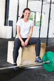 Beautiful and smiling woman at crossfit center Royalty Free Stock Photos