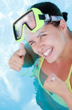 Beautiful smiling woman diver Royalty Free Stock Image