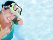 Beautiful smiling woman diver Stock Photos