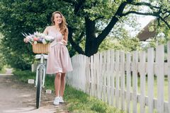 Beautiful smiling woman in dress with retro bicycle with wicker basket full of flowers. At countryside stock photos