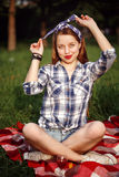Beautiful Smiling Woman Dressed in Pin Up Style Royalty Free Stock Image