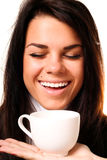 Beautiful smiling woman drinking. Portrait of beautiful smiling woman drinking coffee stock images
