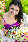 Beautiful smiling woman with easter eggs Royalty Free Stock Photos