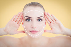 Beautiful smiling woman face ready for cosmetic surgery Royalty Free Stock Photo