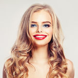 Beautiful Smiling Woman Fashion Model with Blonde Hair Stock Photos