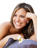 Beautiful smiling woman with a flower Stock Photo