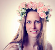 Beautiful smiling woman with flower Stock Photo