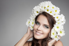 Beautiful Smiling Woman With Fower Wreath On Her Head. Stock Image