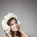 Beautiful Smiling Woman With Fower Wreath On Her Head. Royalty Free Stock Photos