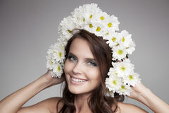 Beautiful Smiling Woman With Fower Wreath On Her Head. Stock Photos