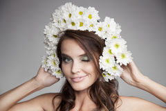 Beautiful Smiling Woman With Fower Wreath On Her Head. Stock Photography