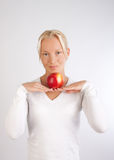 Beautiful smiling woman with fruit Royalty Free Stock Photos