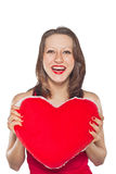 Beautiful smiling woman with a gift of the heart Stock Images