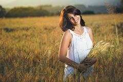 Beautiful smiling woman in a golden field Stock Images