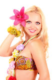 Beautiful smiling woman in Hawaii style isolated Stock Photo