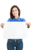 Beautiful smiling woman holding blank white board Stock Photo
