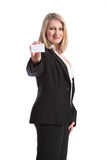 Beautiful smiling woman holding business card Stock Photos