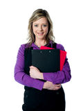 Beautiful smiling woman holding documents Royalty Free Stock Photos