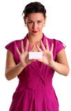 Beautiful smiling woman holding a white card Stock Photography