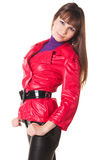 Beautiful smiling woman in leather pants Stock Photos