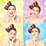 Beautiful smiling woman with a lollipop on bubble background Stock Image