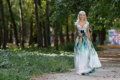 Beautiful smiling woman in long dress on nature Stock Images