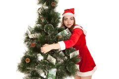 Beautiful smiling woman hugging money fir tree. Beautiful smiling woman in new year costume hugging money fir tree Royalty Free Stock Images
