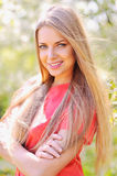 Beautiful smiling woman outdoor portrait Royalty Free Stock Photos