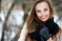 Beautiful smiling woman outdoor portrait Stock Photos