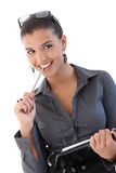 Beautiful smiling woman with personal organizer Stock Images