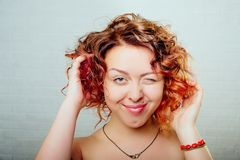 Beautiful smiling woman portrait with red hair Royalty Free Stock Photo