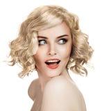 Beautiful Smiling Woman Portrait On White Stock Photos