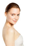 Beautiful smiling woman portrait on white Stock Image