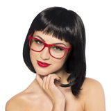 Beautiful smiling woman with red glasses Royalty Free Stock Images