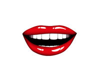 Beautiful smiling woman red lips. Kiss Me. Vector illustration Eps 10 Stock Photography