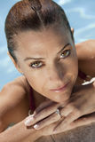 Beautiful Smiling Woman Relaxing In Swimming Pool Stock Image