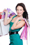 Beautiful smiling woman with shopping bags Stock Photos