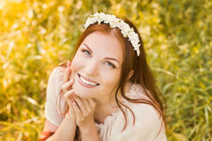Beautiful smiling woman with spring flowers Royalty Free Stock Images