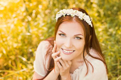 Beautiful smiling woman with spring flowers Royalty Free Stock Photo
