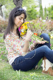 Beautiful smiling woman  in a spring garden Stock Images