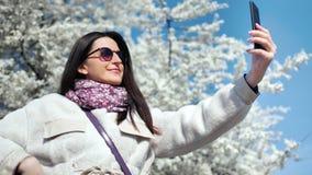 Beautiful smiling woman taking selfie using smartphone posing at white flowering sakura tree background stock video