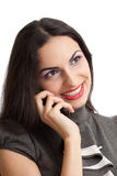 Beautiful smiling woman talking by phone isolated Royalty Free Stock Photos