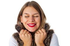 Beautiful woman with fur vest Stock Photos