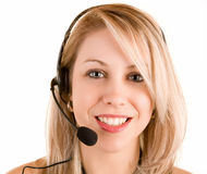 Beautiful Smiling Woman Wearing Headset Stock Photos