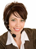 Beautiful Smiling Woman Wearing Headset Royalty Free Stock Images
