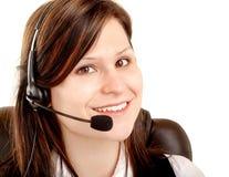 Beautiful Smiling Woman Wearing Headset royalty free stock photo