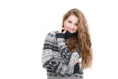 Beautiful smiling woman wearing sweater isolated Stock Images