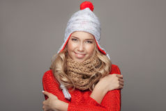 Beautiful smiling woman wearing winter clothing. Royalty Free Stock Photo