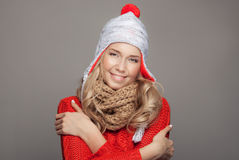 Beautiful smiling woman wearing winter clothing. Stock Images
